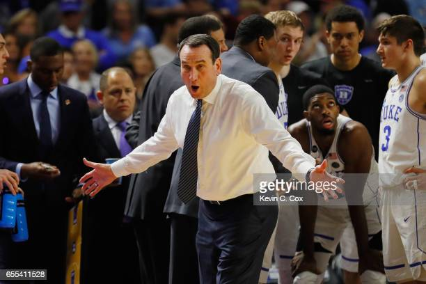 Head coach Mike Krzyzewski of the Duke Blue Devils reacts in the second half against the South Carolina Gamecocks during the second round of the 2017...