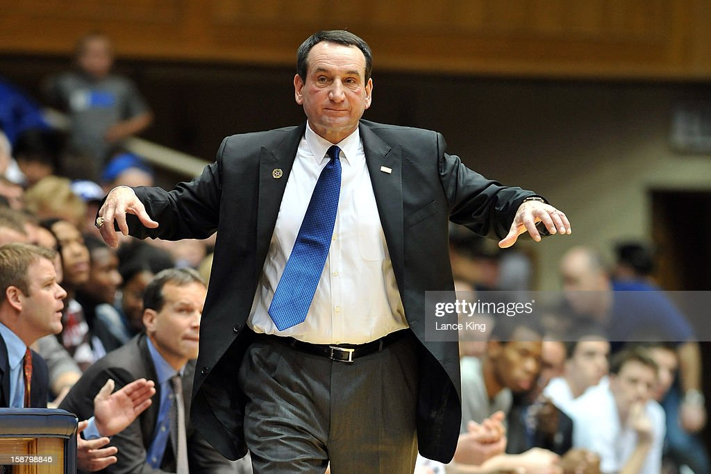 Head coach <a gi-track='captionPersonalityLinkClicked' href=/galleries/search?phrase=Mike+Krzyzewski&family=editorial&specificpeople=213322 ng-click='$event.stopPropagation()'>Mike Krzyzewski</a> of the Duke Blue Devils reacts to a call during a stop in play against the Santa Clara Broncos at Cameron Indoor Stadium on December 29, 2012 in Durham, North Carolina.