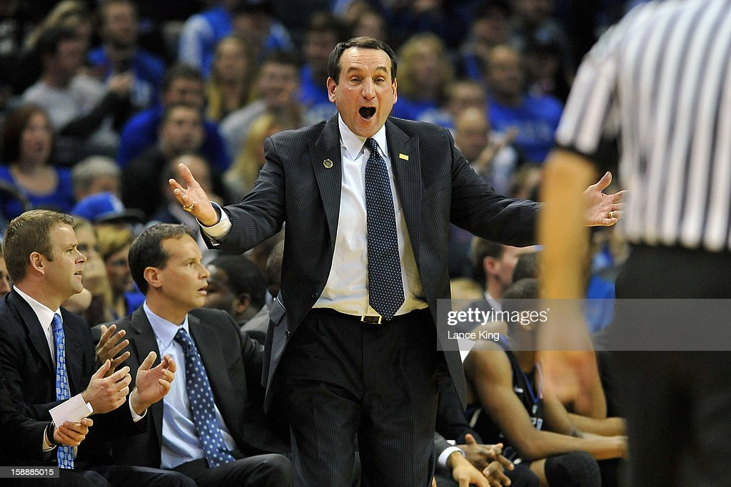 Head Coach <a gi-track='captionPersonalityLinkClicked' href=/galleries/search?phrase=Mike+Krzyzewski&family=editorial&specificpeople=213322 ng-click='$event.stopPropagation()'>Mike Krzyzewski</a> of the Duke Blue Devils reacts to a call from the sideline against the Davidson Wildcats at Time Warner Cable Arena on January 2, 2013 in Charlotte, North Carolina.