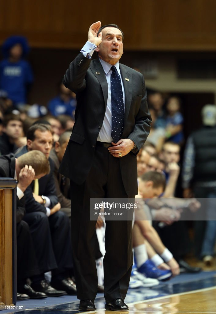 Head coach <a gi-track='captionPersonalityLinkClicked' href=/galleries/search?phrase=Mike+Krzyzewski&family=editorial&specificpeople=213322 ng-click='$event.stopPropagation()'>Mike Krzyzewski</a> of the Duke Blue Devils yells to his team during their game against the Cornell Big Red at Cameron Indoor Stadium on December 19, 2012 in Durham, North Carolina.