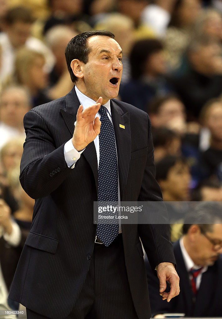 Head coach <a gi-track='captionPersonalityLinkClicked' href=/galleries/search?phrase=Mike+Krzyzewski&family=editorial&specificpeople=213322 ng-click='$event.stopPropagation()'>Mike Krzyzewski</a> of the Duke Blue Devils yells to his team during their game against the Wake Forest Demon Deacons at Joel Coliseum on January 30, 2013 in Winston-Salem, North Carolina.