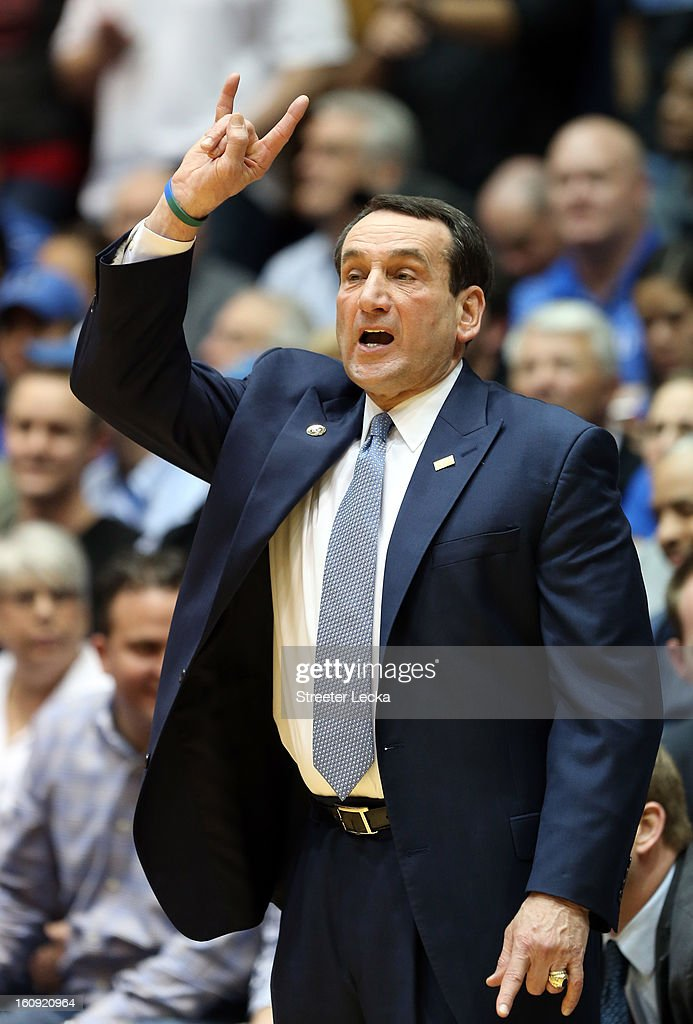 Head coach <a gi-track='captionPersonalityLinkClicked' href=/galleries/search?phrase=Mike+Krzyzewski&family=editorial&specificpeople=213322 ng-click='$event.stopPropagation()'>Mike Krzyzewski</a> of the Duke Blue Devils yells to his team during their game against the North Carolina State Wolfpack at Cameron Indoor Stadium on February 7, 2013 in Durham, North Carolina.