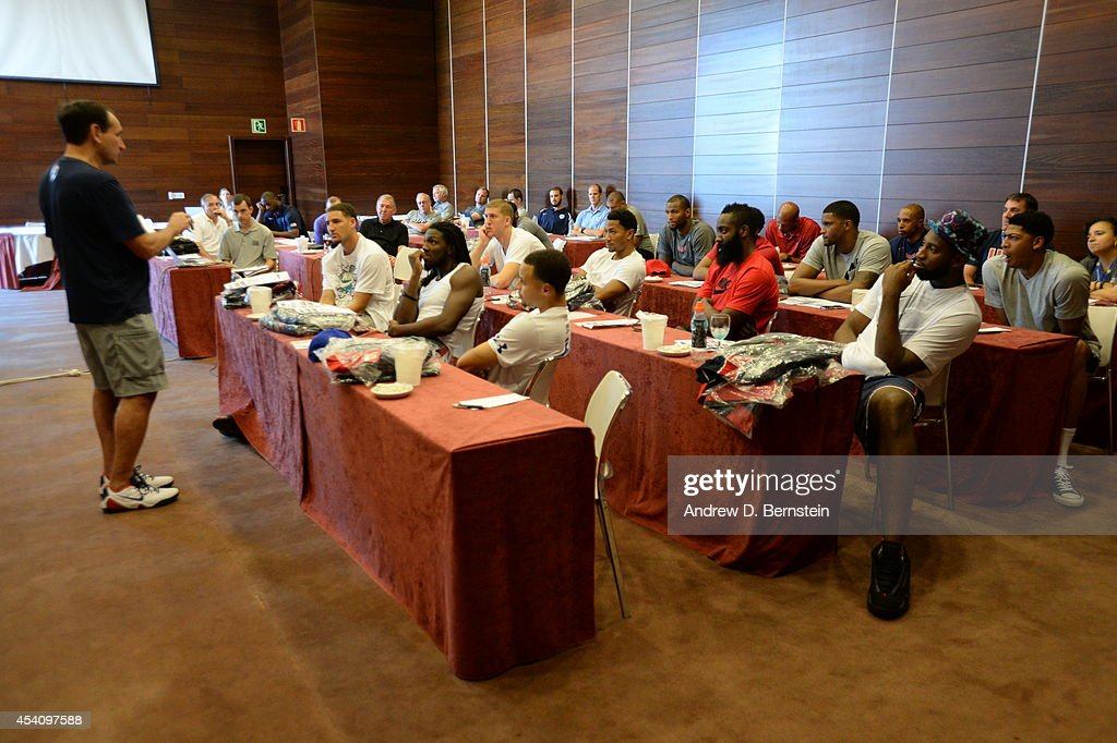 Head coach Mike Krzyzewski of the USA Basketball Men's National Team speaks during a team meeting on August 24, 2014 in Gran Canaria, Spain.