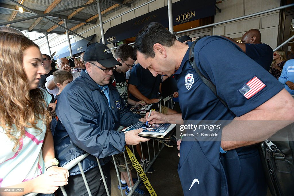 Head coach Mike Krzyzewski of the USA Basketball Men's National Team departs New York en route to Gran Canaria, Spain on August 24, 2014.