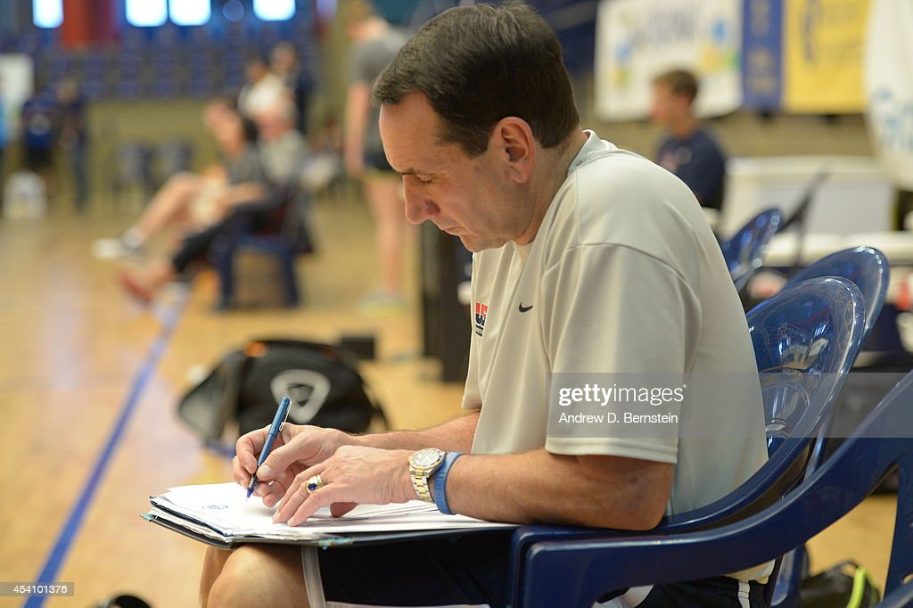 Head coach Mike Krzyzewski of the USA Basketball Men's National Team prepares for practice on August 24, 2014 at Pabellon de El Tablero Practice Facility in El Tablero, Gran Canaria, Spain.