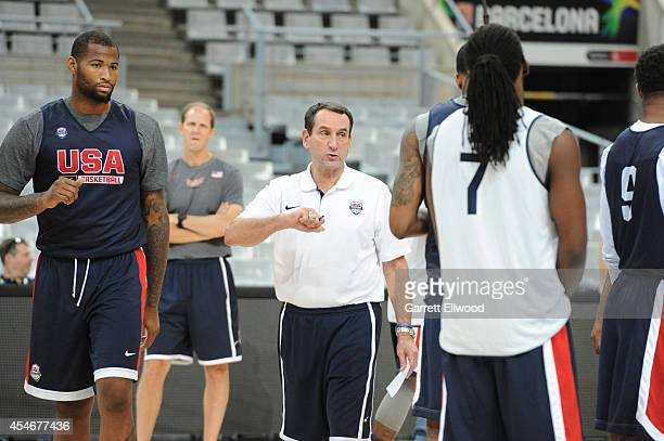 Head Coach Mike Krzyzewski of the USA Basketball Men's National Team goes over a play during practice at Palau Sant Jordi on September 5 2014 in...