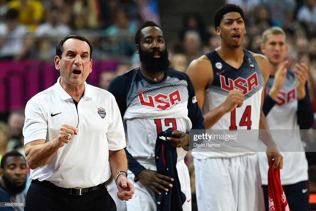 Head coach <a gi-track='captionPersonalityLinkClicked' href=/galleries/search?phrase=Mike+Krzyzewski&family=editorial&specificpeople=213322 ng-click='$event.stopPropagation()'>Mike Krzyzewski</a> of the USA Basketball Men's National Team reacts during a 2014 FIBA Basketball World Cup semi-final match between USA and Lithuania at Palau Sant Jordi on September 11, 2014 in Barcelona, Spain.