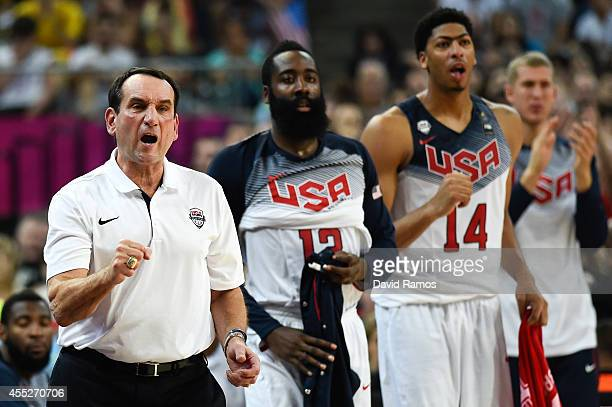 Head coach Mike Krzyzewski of the USA Basketball Men's National Team reacts during a 2014 FIBA Basketball World Cup semifinal match between USA and...