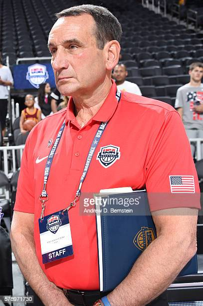 Head coach Mike Krzyzewski of the USA Basketball Men's National Team looks on before the game against Argentina on July 22 2016 at TMobile Arena in...