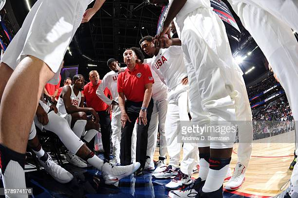 Head coach Mike Krzyzewski of the USA Basketball Men's National Team talks to his team before the game against Argentina on July 22 2016 at TMobile...