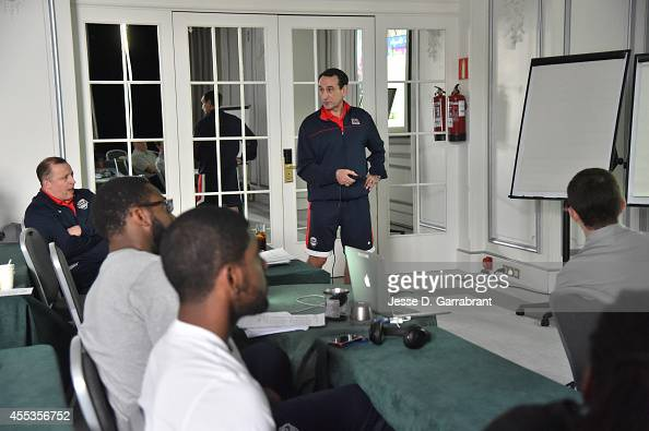 Head Coach Mike Krzyzewski of the USA National Team address the team during a team meeting at Pthe Westin Hotel on September 13 2014 in Madrid Spain...