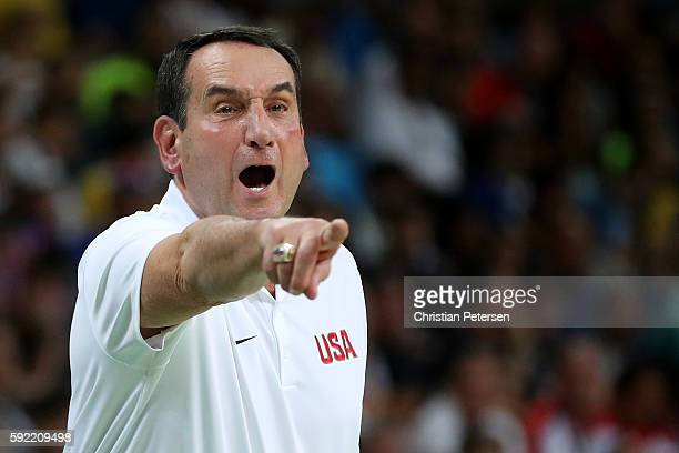 Head coach Mike Krzyzewski of United States shouts during the Men's Semifinal match against Spain on Day 14 of the Rio 2016 Olympic Games at Carioca...
