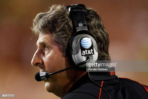Head coach Mike Leach of the Texas Tech Red Raiders during play against the Texas Longhorns at Darrell K RoyalTexas Memorial Stadium on September 19...