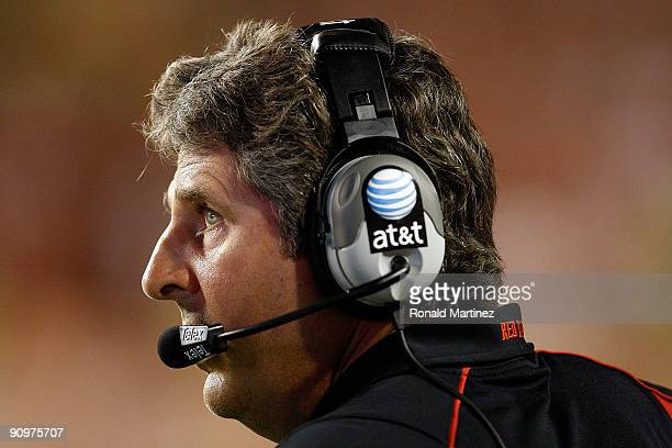 Head coach Mike Leach of the Texas Tech Red Raiders during play against the Texas Longhorns at Darrell K RoyalTexas Memorial Stadium on September 19...