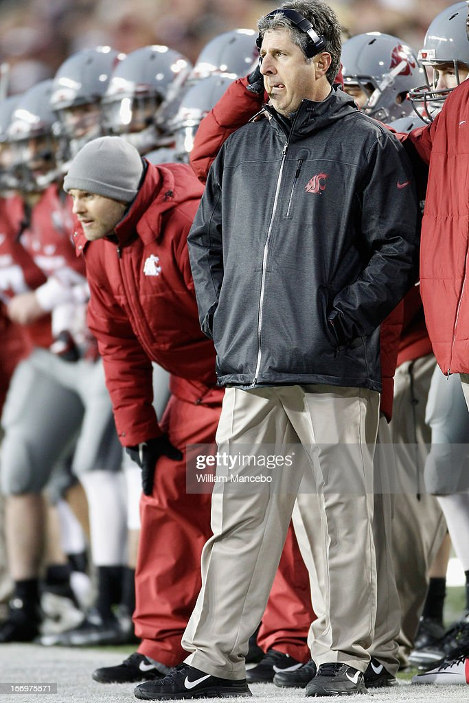 Head coach Mike Leach of the Washington State Cougars on the sidelines moments before the Cougars win the Apple Cup 31-28 during overtime against the Washington Huskies at Martin Stadium on November 23, 2012 in Pullman, Washington.