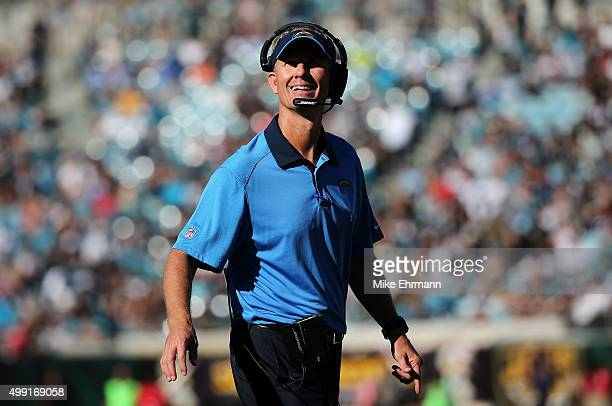 Head coach Mike McCoy of the San Diego Chargers reacts after a touchdown in the second quarter against the Jacksonville Jaguars at EverBank Field on...