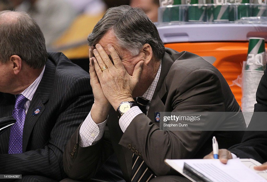 Head coach <a gi-track='captionPersonalityLinkClicked' href=/galleries/search?phrase=Mike+Montgomery&family=editorial&specificpeople=206875 ng-click='$event.stopPropagation()'>Mike Montgomery</a> of the California Golden Bears reacts on the bench late in the second half against the Colorado Buffaloes in the semifinals of the 2012 Pacific Life Pac-12 men's basketball tournament at Staples Center on March 9, 2012 in Los Angeles, California.