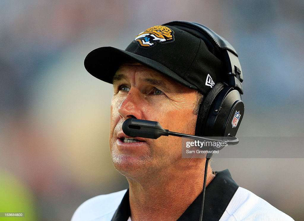 Head coach <a gi-track='captionPersonalityLinkClicked' href=/galleries/search?phrase=Mike+Mularkey&family=editorial&specificpeople=238938 ng-click='$event.stopPropagation()'>Mike Mularkey</a> of the Jacksonville Jaguars watches the action during the game against the Chicago Bears at EverBank Field on October 7, 2012 in Jacksonville, Florida.