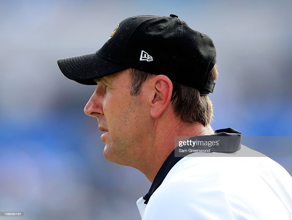 Head coach Mike Mularkey of the Jacksonville Jaguars watches the action during the game against the New York Jets at EverBank Field on December 9, 2012 in Jacksonville, Florida.