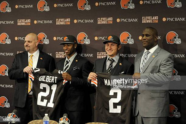 Head coach Mike Pettine first round draft picks cornerback Justin Gilbert and quarterback Johnny Manziel and general manager Ray Farmer of the...