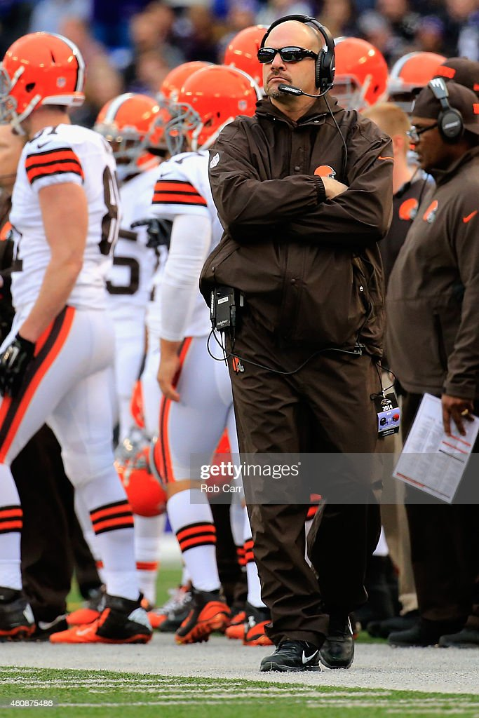 Head coach Mike Pettine of the Cleveland Browns looks on from sidelines during the second half of their 20-10 loss to the Baltimore Ravens at M&T Bank Stadium on December 28, 2014 in Baltimore, Maryland.