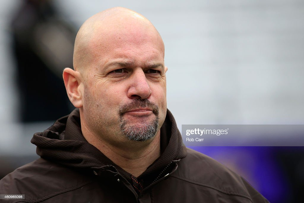 Head coach Mike Pettine of the Cleveland Browns takes the field before the start of their game against the Baltimore Ravens at M&T Bank Stadium on December 28, 2014 in Baltimore, Maryland.