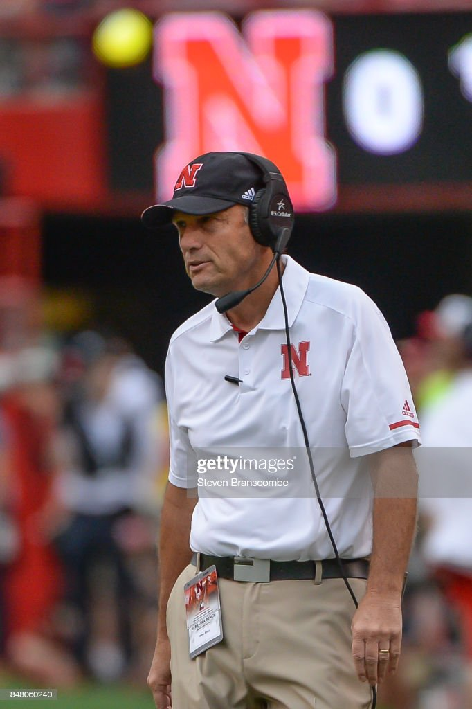 Head coach Mike Riley of the Nebraska Cornhuskers watches action against the Northern Illinois Huskies at Memorial Stadium on September 16, 2017 in Lincoln, Nebraska.