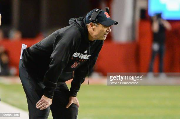 Head coach Mike Riley of the Nebraska Cornhuskers watches late game action against the Wisconsin Badgers at Memorial Stadium on October 7 2017 in...