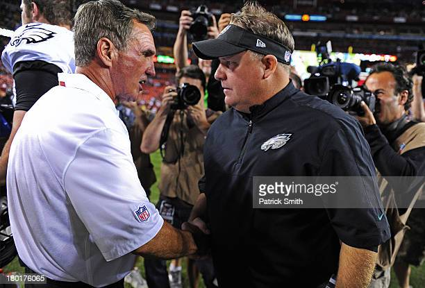 Head coach Mike Shanahan of the Washington Redskins and head coach Chip Kelly of the Philadelphia Eagles shake hands after an NFL game at FedExField...