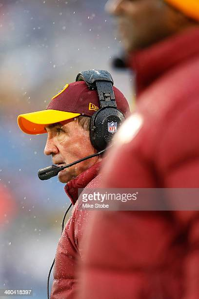 head coach Mike Shanahan of the Washington Redskins looks on from the sidelines during the game against the New York Giants at MetLife Stadium on...