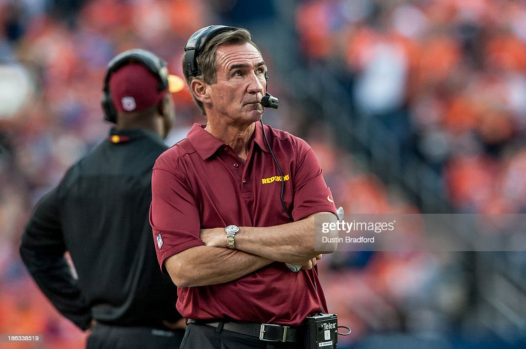 Head coach <a gi-track='captionPersonalityLinkClicked' href=/galleries/search?phrase=Mike+Shanahan&family=editorial&specificpeople=213113 ng-click='$event.stopPropagation()'>Mike Shanahan</a> of the Washington Redskins paces on the sideline during a game against the Denver Broncos at Sports Authority Field Field at Mile High on October 27, 2013 in Denver, Colorado. The Broncos beat the Redskins 45-21.