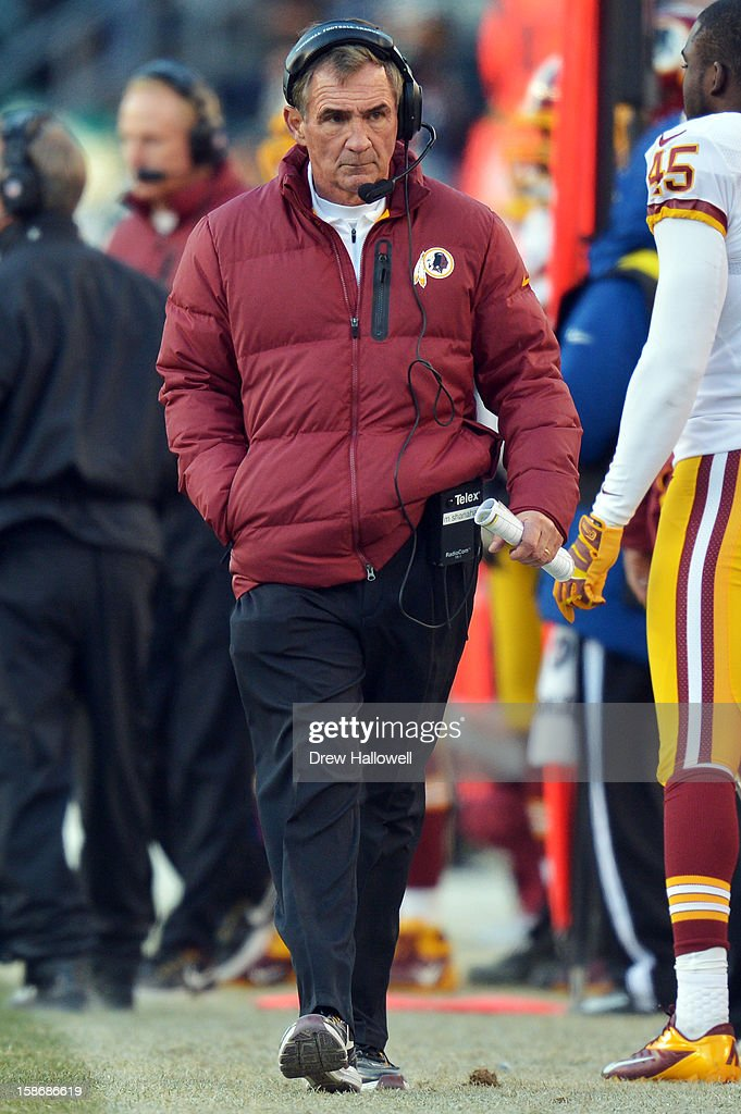 Head coach <a gi-track='captionPersonalityLinkClicked' href=/galleries/search?phrase=Mike+Shanahan&family=editorial&specificpeople=213113 ng-click='$event.stopPropagation()'>Mike Shanahan</a> of the Washington Redskins walks the sideline during the game against the Philadelphia Eagles at Lincoln Financial Field on December 23, 2012 in Philadelphia, Pennsylvania. The Redskins won 27-20.