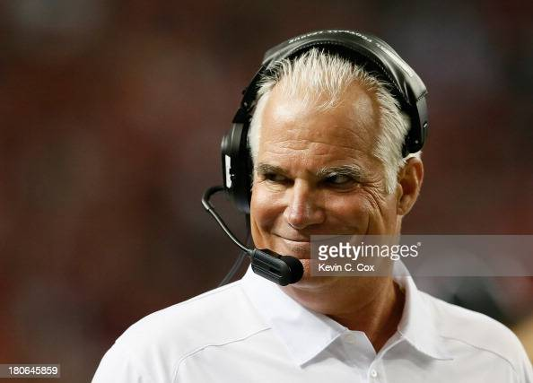 Head coach Mike Smith of the Atlanta Falcons reacts after calling a timeout on a fourth down for the St Louis Rams at Georgia Dome on September 15...