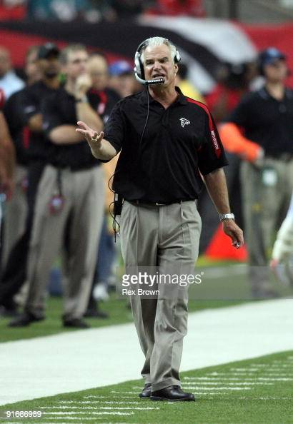 Head coach Mike Smith of the Atlanta Falcons reacts to a call during the Falcons win over the Miami Dolphins at Georgia Dome on September 13 2008 in...