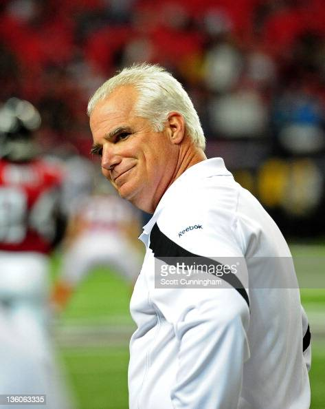 Head Coach Mike Smith of the Atlanta Falcons smiles after the game against the Jacksonville Jaguars at the Georgia Dome on December 15 2011 in...