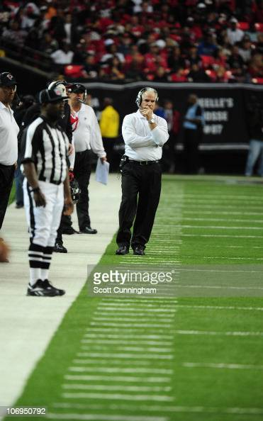 Head Coach Mike Smith of the Atlanta Falcons watches the action against the Tampa Bay Buccaneers at the Georgia Dome on November 7 2010 in Atlanta...