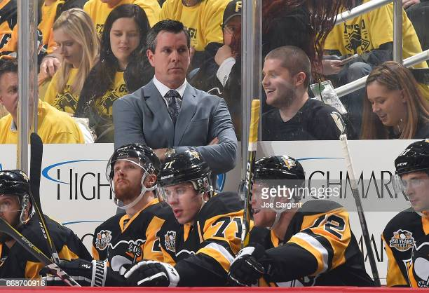 Head coach Mike Sullivan of the Pittsburgh Penguins looks on against the Columbus Blue Jackets in Game One of the Eastern Conference First Round...
