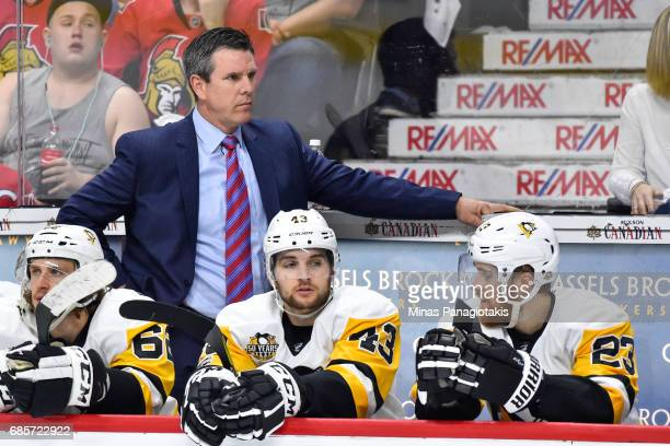 Head coach Mike Sullivan of the Pittsburgh Penguins looks on against the Ottawa Senators in Game Three of the Eastern Conference Final during the...