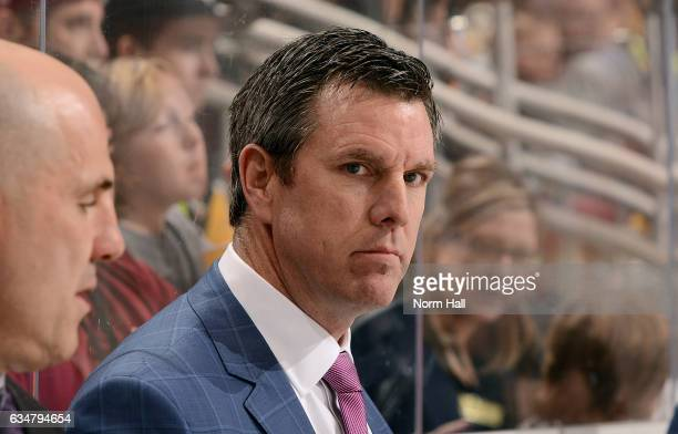 Head coach Mike Sullivan of the Pittsburgh Penguins looks on from the bench during first period action against the Arizona Coyotes at Gila River...