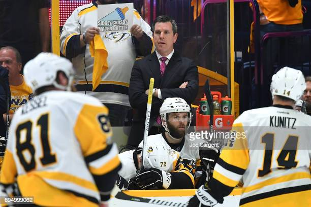 Head Coach Mike Sullivan of the Pittsburgh Penguins looks on from the bench in the second period of Game Six of the 2017 NHL Stanley Cup Final at the...