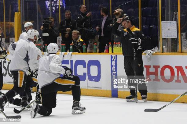 Head coach Mike Sullivan of the Pittsburgh Penguins manages practice at the Bridgestone Arena on June 4 2017 during the 2017 NHL Stanley Cup Finals...