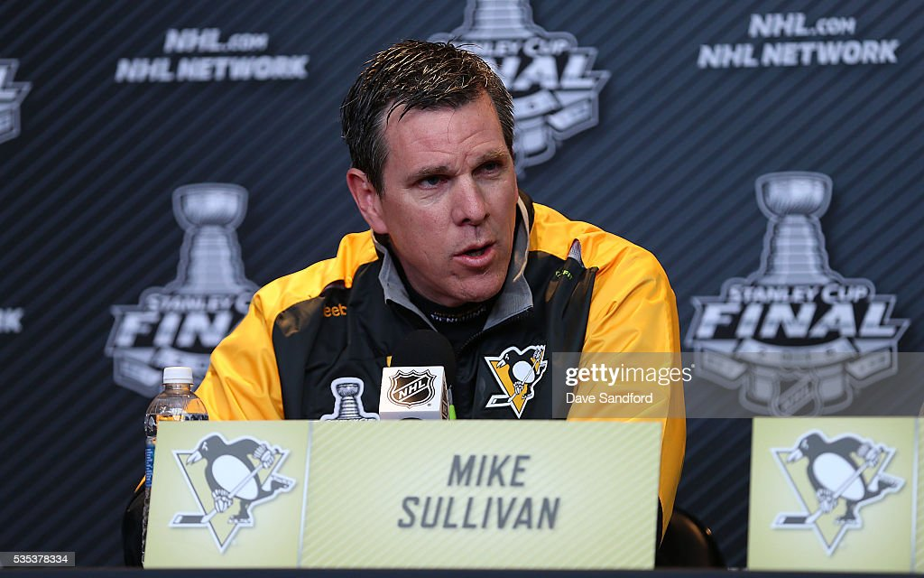 Head Coach Mike Sullivan of the Pittsburgh Penguins speaks during Media Day prior to the 2016 NHL Stanley Cup Final between the Pittsburgh Penguins and San Jose Sharks May 29, 2016 at Consol Energy Center in Pittsburgh, Pennsylvania, United States.