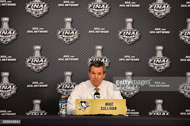 Head coach Mike Sullivan of the Pittsburgh Penguins speaks with the media during a postgame press conference after defeating the San Jose Sharks 32...