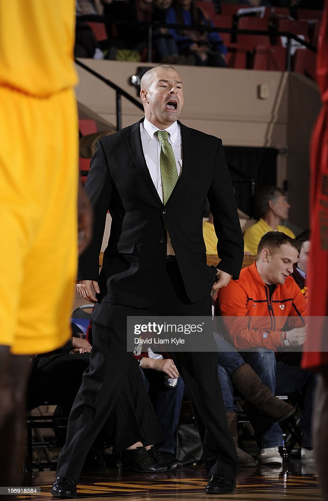 Head coach Mike Taylor of the Maine Red Claws yells out the play during the game against the Canton Charge at the Canton Memorial Civic Center on November 23, 2012 in Canton, Ohio.