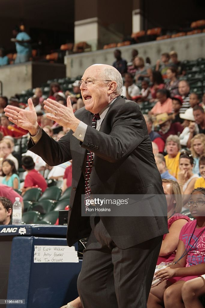 Head Coach <a gi-track='captionPersonalityLinkClicked' href=/galleries/search?phrase=Mike+Thibault&family=editorial&specificpeople=544624 ng-click='$event.stopPropagation()'>Mike Thibault</a> of the Connecticut Sun reacts on the sideline during a game against the Indiana Fever at Conseco Fieldhouse on July 13, 2011 in Indianapolis, Indiana.