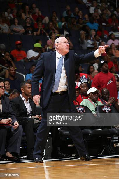 Head coach Mike Thibault of the Washington Mystics directs play against the Tulsa Shock at the Verizon Center on June 30 2013 in Washington DC NOTE...