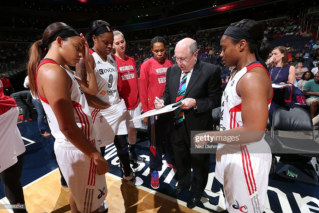 Head coach Mike Thibault of the Washington Mystics draws a play against the Tulsa Shock at the Verizon Center on July 25, 2014 in Washington, DC.