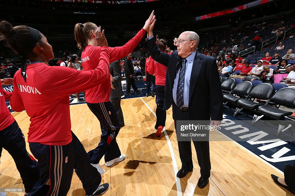 Head coach <a gi-track='captionPersonalityLinkClicked' href=/galleries/search?phrase=Mike+Thibault&family=editorial&specificpeople=544624 ng-click='$event.stopPropagation()'>Mike Thibault</a> of the Washington Mystics during introductions against the New York Liberty at the Verizon Center on August 16, 2014 in Washington, DC.