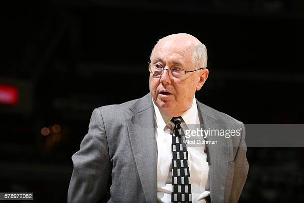 Head Coach Mike Thibault of the Washington Mystics looks on against the Los Angeles Sparks on July 22 2016 at Verizon Center in Washington DC NOTE TO...