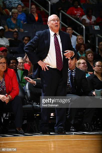 Head Coach Mike Thibault of the Washington Mystics looks on against the Seattle Storm on September 9 2016 at Verizon Center in Washington DC NOTE TO...